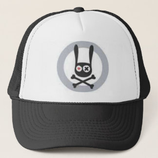Bunny Skull and Crossbones with Heart and X Eye Trucker Hat