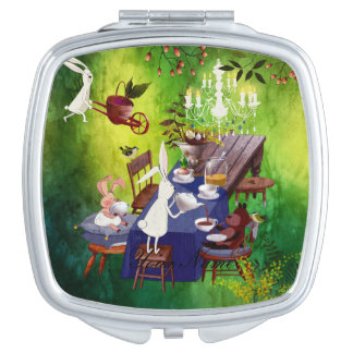 Bunny Spring Party in Forest-Animal Illustration Makeup Mirrors