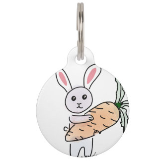 Bunny with a Carrot Pet Name Tag