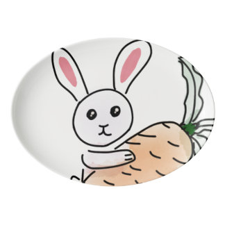 Bunny with a Carrot Porcelain Serving Platter