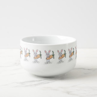 Bunny with a Carrot Soup Bowl With Handle