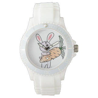 Bunny with a Carrot Wrist Watches