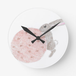 Bunny With A Giant Cookie Round Clock
