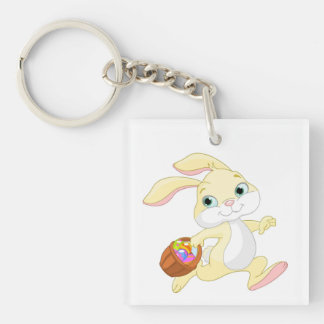 Bunny With Basket Double-Sided Square Acrylic Keychain