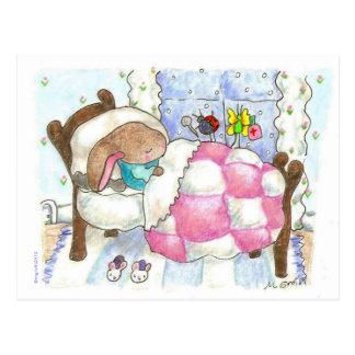 bunny with bugs postcard