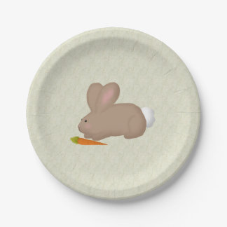 Bunny With Carrot Paper Plates 7 Inch Paper Plate