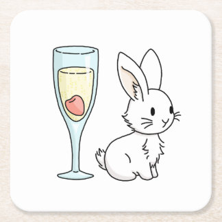 Bunny with Champagne Square Paper Coaster