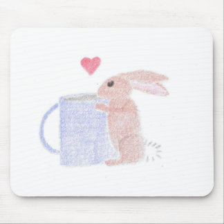 Bunny With Coffee Mouse Pad