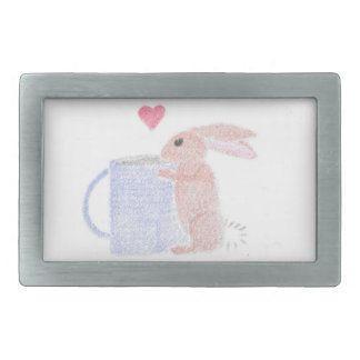 Bunny With Coffee Rectangular Belt Buckle