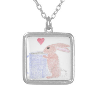 Bunny With Coffee Silver Plated Necklace