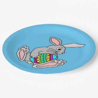 Bunny with Easter Egg 9 Inch Paper Plate