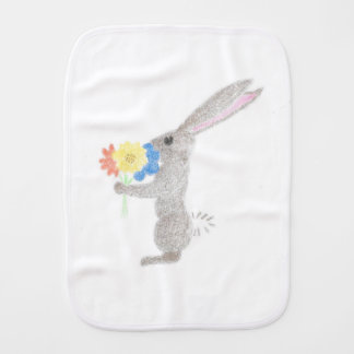 Bunny With Flowers Burp Cloth