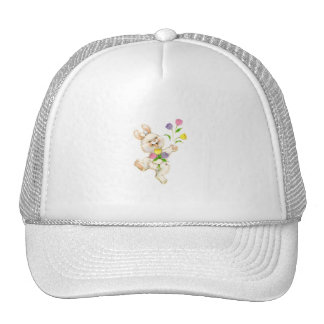 Bunny with flowers cartoon trucker hat