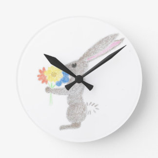 Bunny With Flowers Clock