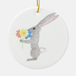 Bunny With Flowers Round Ceramic Ornament