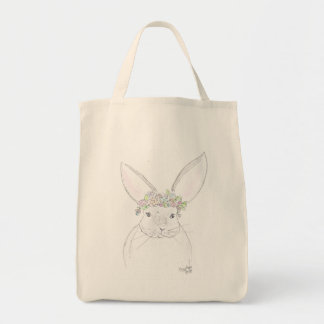 Bunny with flowers tote