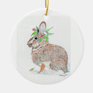 bunny with holly wreath ceramic ornament