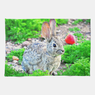 Bunny with Strawberry Kitchen Towel
