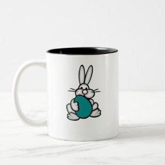 Bunny with Teal Green Egg Two-Tone Coffee Mug