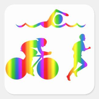 Bunter Triathlon Regenbogen Sticker