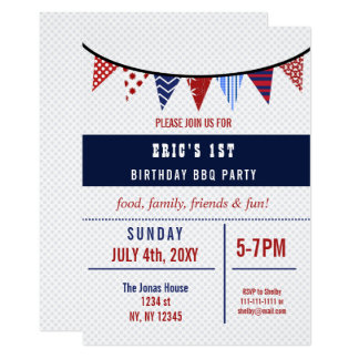 Bunting July 4th Birthday party Invitation