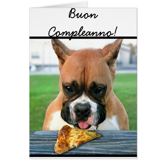 Buon Compleanno boxer dog greeting card
