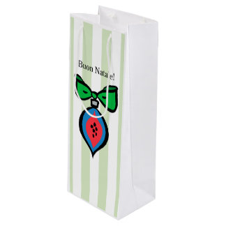 Buon Natale Blue/Red Ornament Gift Wine Bag Green