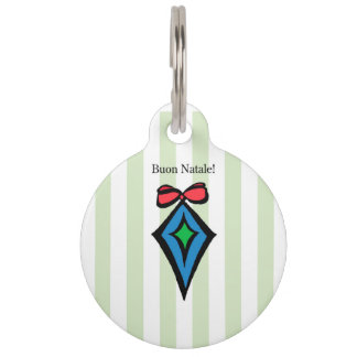 Buon Natale Diamond Ornament Pet Tag Green