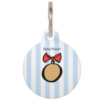 Buon Natale Gold Christmas Ornament Pet Tag Blue