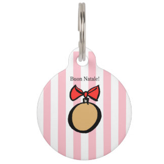 Buon Natale Gold Christmas Ornament Pet Tag Pink