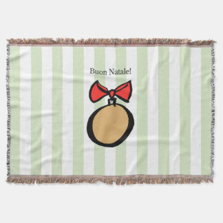 Buon Natale Gold Ornament Throw Blanket Green