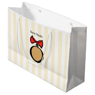 Buon Natale Gold Round Large Gift Bag Yellow