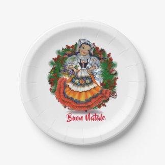 Buon Natale Merry Christmas Italian Retro Doll Paper Plate