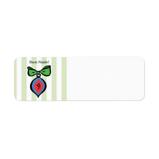Buon Natale Red/Blue Ornament Address Label Green