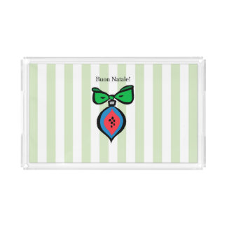 Buon Natale Red/Blue Ornament Vanity Tray Green