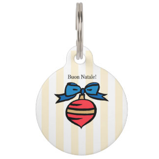 Buon Natale Red Christmas Ornament Pet Tag Yellow
