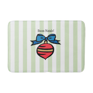 Buon Natale Red Ornament Medium Bath Mat Green