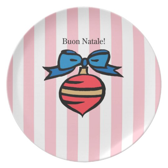 Buon Natale Red Ornament Melamine Plate Pink