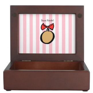 Buon Natale Round Gold Christmas Ornament Pink Memory Box