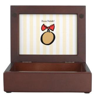 Buon Natale Round Gold Christmas Ornament Yellow Keepsake Box