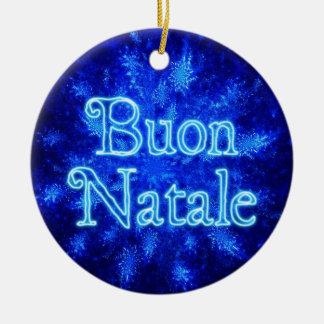 Buon Natale - Snowburst Ceramic Ornament