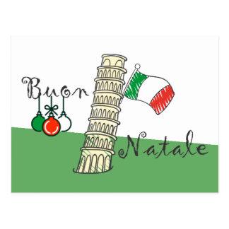 Buon Natale Tower of Pisa Postcard