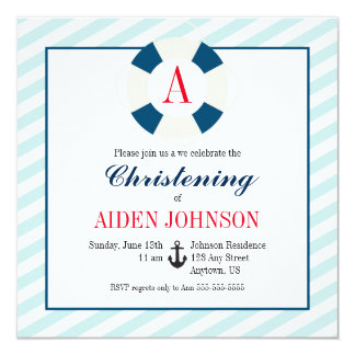 Buoy with Monogram, Nautical Christening Card