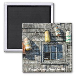 Buoys on a Wall, Peggy's Cove, Nova Scotia. Square Magnet
