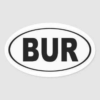 BUR Burlington Massachusetts Oval Sticker