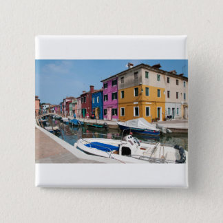 Burano colored houses 2 inch square button