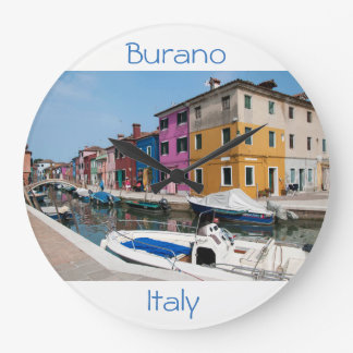 Burano colored houses large clock
