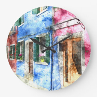 Burano Italy Buildings - Digital Art Watercolor Clocks