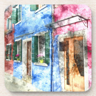Burano Italy Buildings - Digital Art Watercolor Drink Coaster