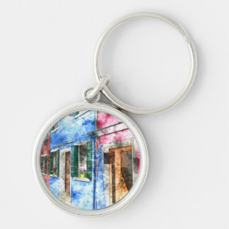 Burano Italy Buildings - Digital Art Watercolor Silver-Colored Round Keychain